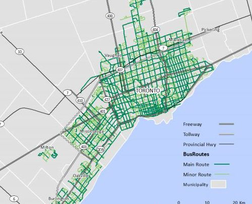 Map of Toronto Bus Routes