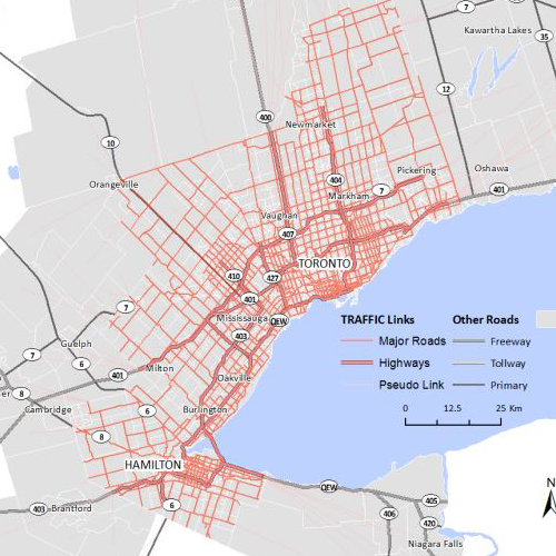 Map of traffic links in the greater Toronto area